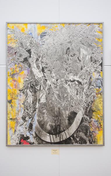 「日展」で展示中の朝倉隆文さんによる「相補性ノ時間ノ救済」