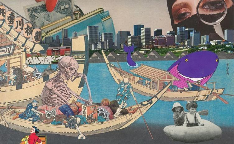 浮世絵にコラージュする「U奇YO絵」の魅力 岡本奇太郎が東京初個展