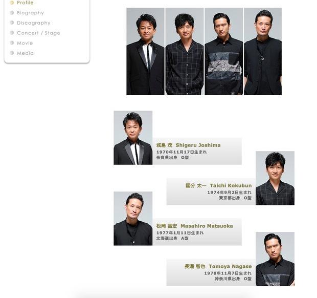 ジャニーズ公式サイトのTOKIOページ