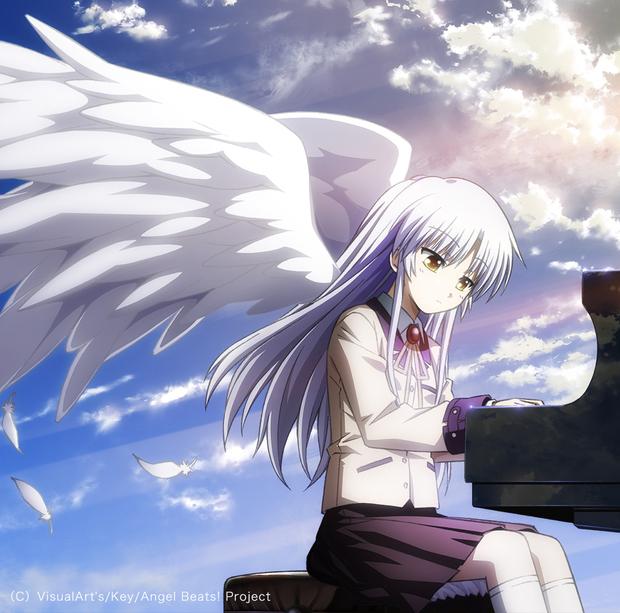『Angel Beats!』のOP・ED『My Soul, Your Beats!/Brave Song』CDジャケット。右側のピアノに雲が写り込んでいることがわかる