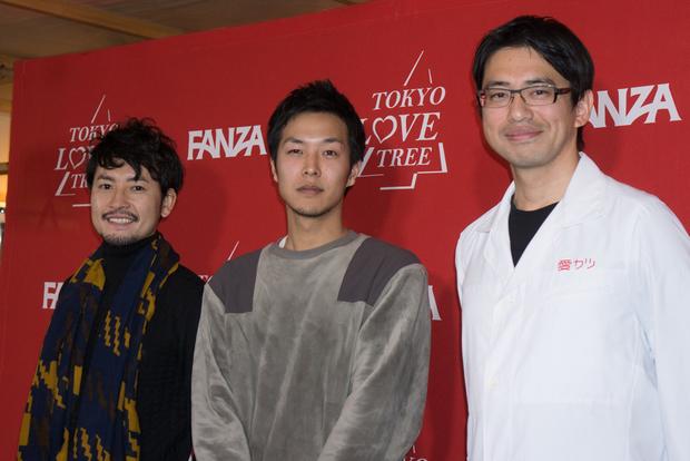 小柳津林太郎さん(左)、半田悠人さん(中央)、新上幸二さん(右)