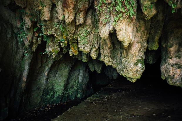 千仏鍾乳洞の入り口は、大小30余りの鍾乳石が垂れ下がる大偉観