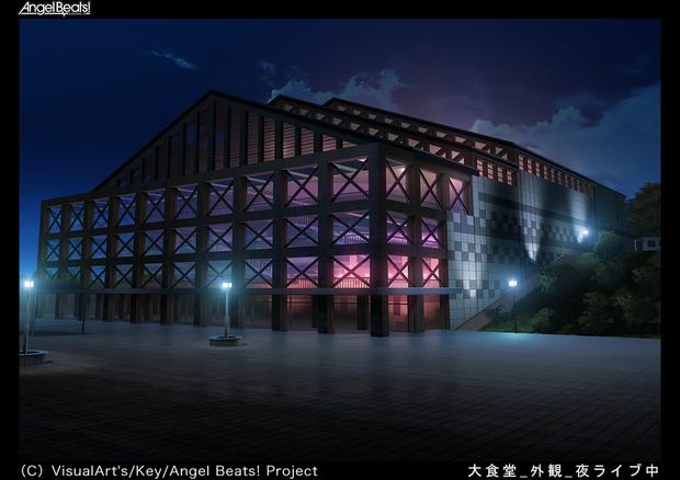 『Angel Beats!』美術ボード(大食堂 外観 夜2ライヴ中)