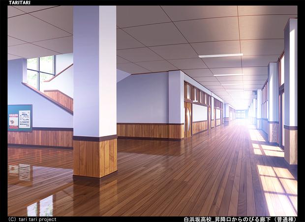 『TARI TARI』白浜坂高校 昇降口からのびる廊下(普通棟)