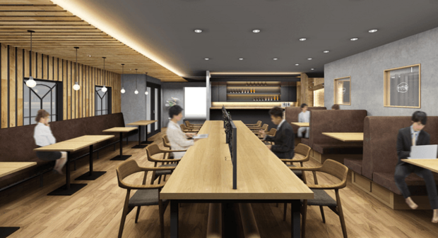 《飲食ワークスペース(土:TSUCHI)》 ゆったりと目の前のワークや仲間との時間を大切にするため、天板サイズを一般レストランよりもサイズアップ。