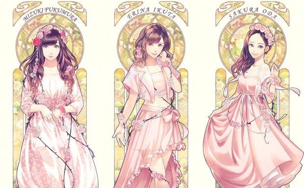 左から譜久村聖さん、生田衣梨奈さん、小田さくらさん