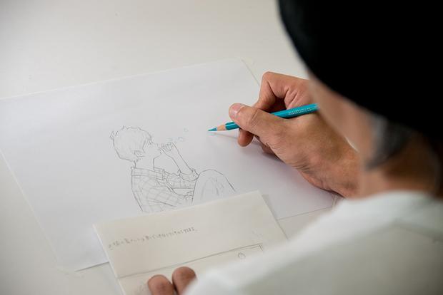 窪之内英策 × 駅すぱあと 手描きアニメ『サヨとコウの出発』イラスト制作&撮影風景7