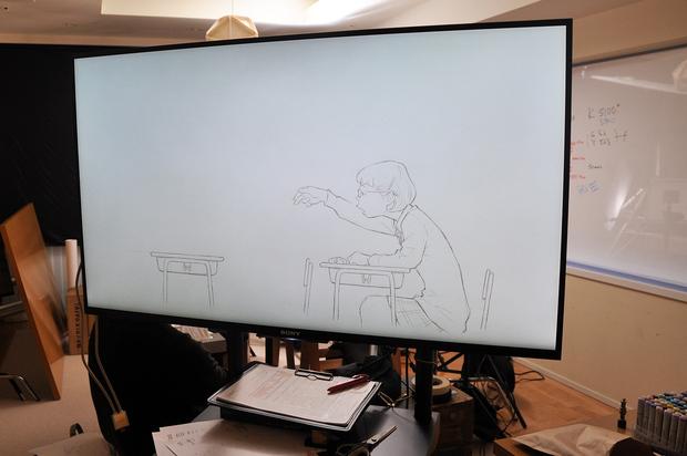 窪之内英策 × 駅すぱあと 手描きアニメ『サヨとコウの出発』イラスト制作&撮影風景16