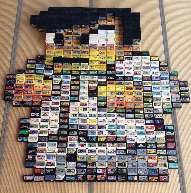 ファミコンソフト約700本で表現 「くにおくん」アートに世界から称賛