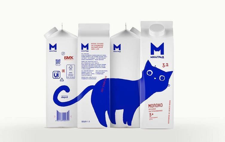青いネコ、ロシアからこんにちは🐈 牛乳のパッケージで遊びまわって愛くるしい