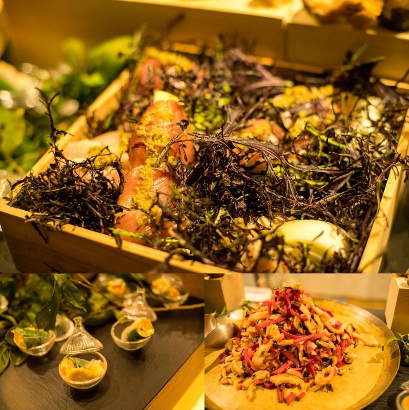(上から時計回りに)「鰤の炙り 青山椒ソース」「いろいろな大根のソムタム」「牡蠣と柿の生春巻き」
