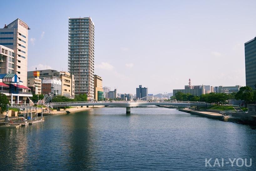 小倉市の紫川。文豪・森鴎外に因んで名付けられた「鴎外橋」から
