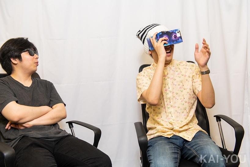 VRホラーを体験するこうはいくん